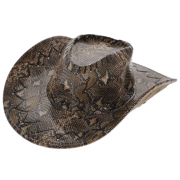 Шляпа карнавальная Ковбой. 2643426434Карнавальная шляпа Ковбой выполнена из полиэстера под кожу рептилии и декорирована вышивкой шнуром из кожзаменителя. Шляпа для удобного ношения снабжена шнуром с фиксатором. Поэтому если она надоест, то ее не обязательно носить в руках - можно повесить ее за спину при помощи шнура. Карнавальная шляпа станет завершающим штрихом в создании праздничного образа. Веселое настроение и масса положительных эмоций вам будут обеспечены!