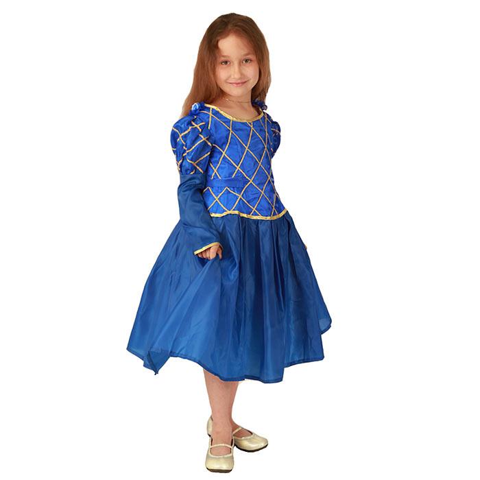 Карнавальный костюм для девочки Принцесса. 102 009102 009Яркий детский карнавальный костюм Принцесса позволит вашей малышке быть самой красивой девочкой на детском утреннике, бале-маскараде или карнавале. Шикарное платье с длинными рукавами-фонариками, выполненное из атласного материала, декорировано тонкой золотистой тесьмой, на талии имеется широкий поясок. На спинке оно застегивается на липучки. В комплект с платьем входит двуслойный подъюбник, выполненный из гладкой подкладочной ткани и жесткой микросетки, которая придает платью пышность и воздушность. Такой карнавальный костюм привлечет внимание друзей вашего ребенка и подчеркнет его индивидуальность. Веселое настроение и масса положительных эмоций будут обеспечены!