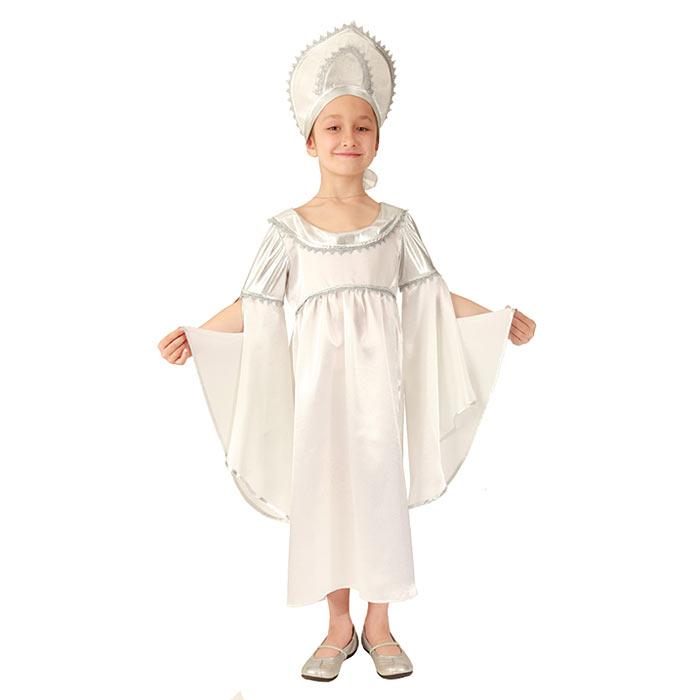Карнавальный костюм для девочки Метель. 102 001102 001Яркий детский карнавальный костюм Метель позволит вашей малышке быть самой красивой девочкой на детском утреннике, бале-маскараде или карнавале. Шикарное длинное платье с завышенной талией и «летящими» рукавами, выполненное из легкого атласного материала с серебристой отделкой, на спинке застегивается на липучки. Дополнит образ очаровательной Метели оригинальный кокошник, декорированный серебристой тесьмой и перламутровыми бусинами, он крепится на голове при помощи тонкой эластичной резинки. Такой карнавальный костюм привлечет внимание друзей вашего ребенка и подчеркнет его индивидуальность. Веселое настроение и масса положительных эмоций будут обеспечены!