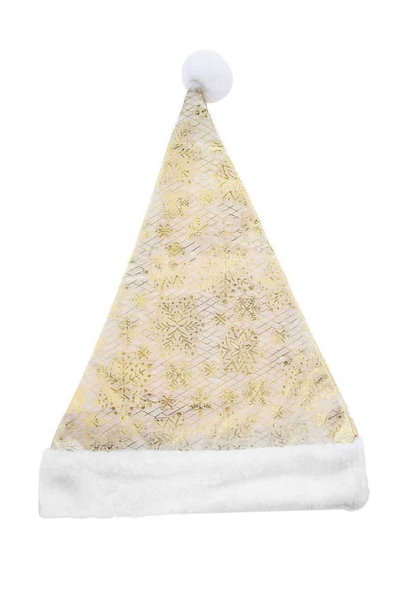 Колпак новогодний Снежинки. 719616719616Новогодний колпак белого цвета развеселит вас и ваших друзей в праздничную ночь. Колпак выполнен из синтетического текстиля и оформлен аппликациями в виде серебристых снежинок и симпатичной меховой отделкой. Радуйте себя и родных, дарите подарки и хорошее настроение! Откройте для себя удивительный мир сказок и грез. Почувствуйте волшебные минуты ожидания праздника, создайте новогоднее настроение вашим дорогим и близким.