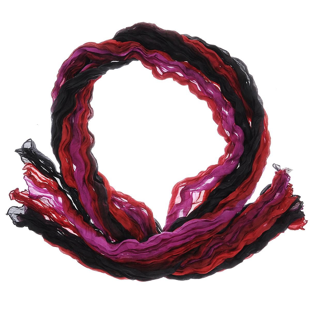 415260нЭлегантный шарф Ethnica станет изысканным нарядным аксессуаром, который призван подчеркнуть индивидуальность и очарование женщины. Шарф жатой фактуры выполнен из 100% шелка и оформлен цветными полосками. Этот модный аксессуар женского гардероба гармонично дополнит образ современной женщины, следящей за своим имиджем и стремящейся всегда оставаться стильной и элегантной. В этом шарфе вы всегда будете выглядеть женственной и привлекательной.