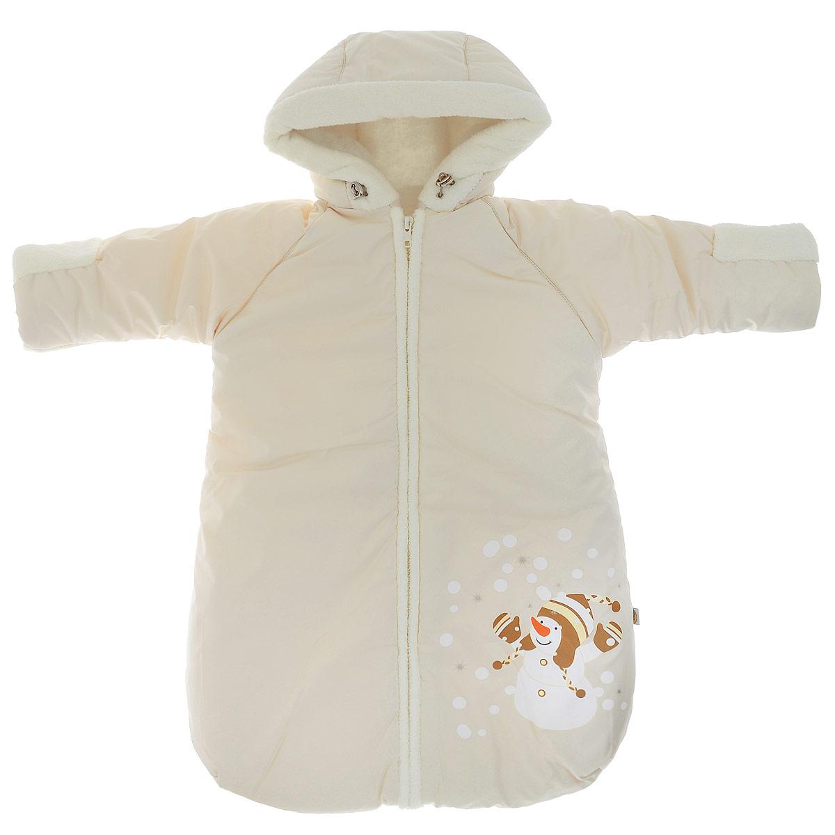 Конверт для новорожденного Снеговичок. 980980/1Теплый конверт для новорожденного Сонный гномик Снеговичок идеально подойдет для ребенка в холодное время года. Конверт изготовлен из водоотталкивающей и ветрозащитной ткани Dewspo (100% полиэстер) на подкладке из шерсти с добавлением полиэстера. В качестве утеплителя используется шелтер (100% полиэстер). Шелтер (Shelter) - утеплитель нового поколения с тонкими волокнами. Его более мягкие ячейки лучше удерживают воздух, эффективнее сохраняя тепло. Более частые связи между волокнами делают утеплитель прочным и позволяют сохранить его свойства даже после многократных стирок. Утеплитель шелтер максимально защищает от холода и не стесняет движений. Конверт с капюшоном и рукавами-реглан спереди застегивается на длинную застежку- молнию. Капюшон не отстегивается и дополнен скрытой кулиской на стопперах. Рукава дополнены широкими эластичными манжетами и отворотами. Низ рукавов, планка, окантовка капюшона и подкладка рукавов дополнены мягким ворсистым...