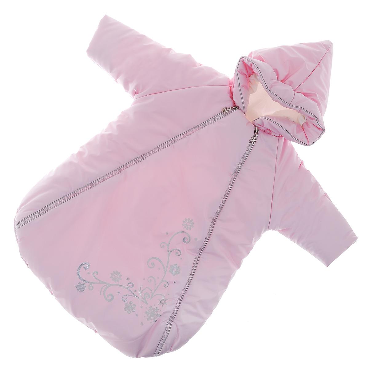 977/0Теплый конверт для новорожденного Сонный гномик Снежинка идеально подойдет для ребенка в холодное время года. Конверт изготовлен из водоотталкивающей и ветрозащитной ткани Dewspo (100% полиэстер) на подкладке из шерсти с добавлением полиэстера. В качестве утеплителя используется шелтер (100% полиэстер). Шелтер (Shelter) - утеплитель нового поколения с тонкими волокнами. Его более мягкие ячейки лучше удерживают воздух, эффективнее сохраняя тепло. Более частые связи между волокнами делают утеплитель прочным и позволяют сохранить его свойства даже после многократных стирок. Утеплитель шелтер максимально защищает от холода и не стесняет движений. Конверт с капюшоном и рукавами-реглан спереди застегивается на две длинные застежки-молнии, а также клапаном на липучку под подбородком. Капюшон не отстегивается и присборен по краю на эластичную резинку. Рукава дополнены внутренними эластичными манжетами и отворотами. Подкладка рукавов для большего комфорта дополнена мягким теплым...