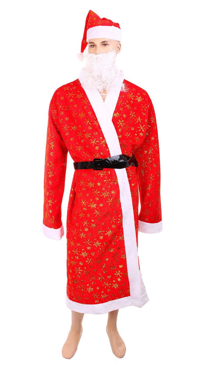 Новогодний костюм Sima-land Дед Мороз. 318357318357Новогодний костюм Sima-land, выполненный из текстиля, состоит из шубки, колпака и ремня. Костюм выполнен в бело-красной гамме и декорирован снежинками из золотистых блесток и белой меховой опушкой. К костюму также прилагается борода из искусственных волос на резинке с прорезью для рта. Такой костюм, несомненно, внесет нотку задора и веселья и станет завершающим штрихом в создании праздничного образа. Веселое настроение и масса положительных эмоций вам будут обеспечены!