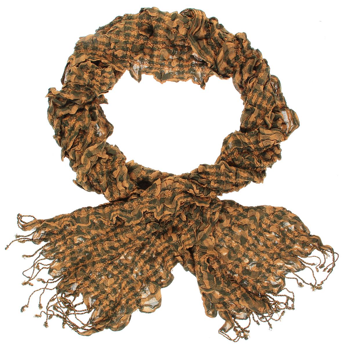 Шарф184090нЭлегантный женский шарф Ethnica подчеркнет ваш неповторимый образ. Он выполнен из мягкой вискозы жатой фактуры и оформлен принтом в клетку. По краям модель декорирована кисточками, скрученными в жгутики. Этот модный аксессуар женского гардероба гармонично дополнит образ современной женщины, следящей за своим имиджем и стремящейся всегда оставаться стильной и элегантной.