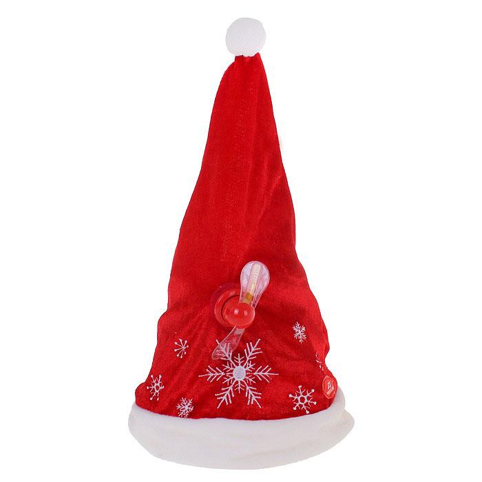 Карнавальная шляпа Sima-land Снежинка, анимированная. 333854333854Карнавальная шляпа Sima-land Снежинка выполнена из текстиля в виде колпака Деда Мороза с пропеллером. Колпак декорирован снежинками и имеет жесткий пластиковый каркас, что помогает ему сохранять форму. Особенностью данного колпака является наличие устройства, при включении которого играет новогодняя мелодия, а пропеллер начинает мигать и вращаться. Благодаря специальной пластиковой застежке размер шляпы может регулироваться. Если у вас намечается веселая вечеринка или маскарад, то такая шляпа легко поможет создать праздничный наряд. Внесите нотку задора и веселья в ваш праздник. Веселое настроение и масса положительных эмоций вам будут обеспечены! УВАЖАЕМЫЕ КЛИЕНТЫ! Обращаем ваше внимание на тот факт, что шляпа работает от 3-х батареек мощностью 1,5 V типа АА (в комплект не входят).