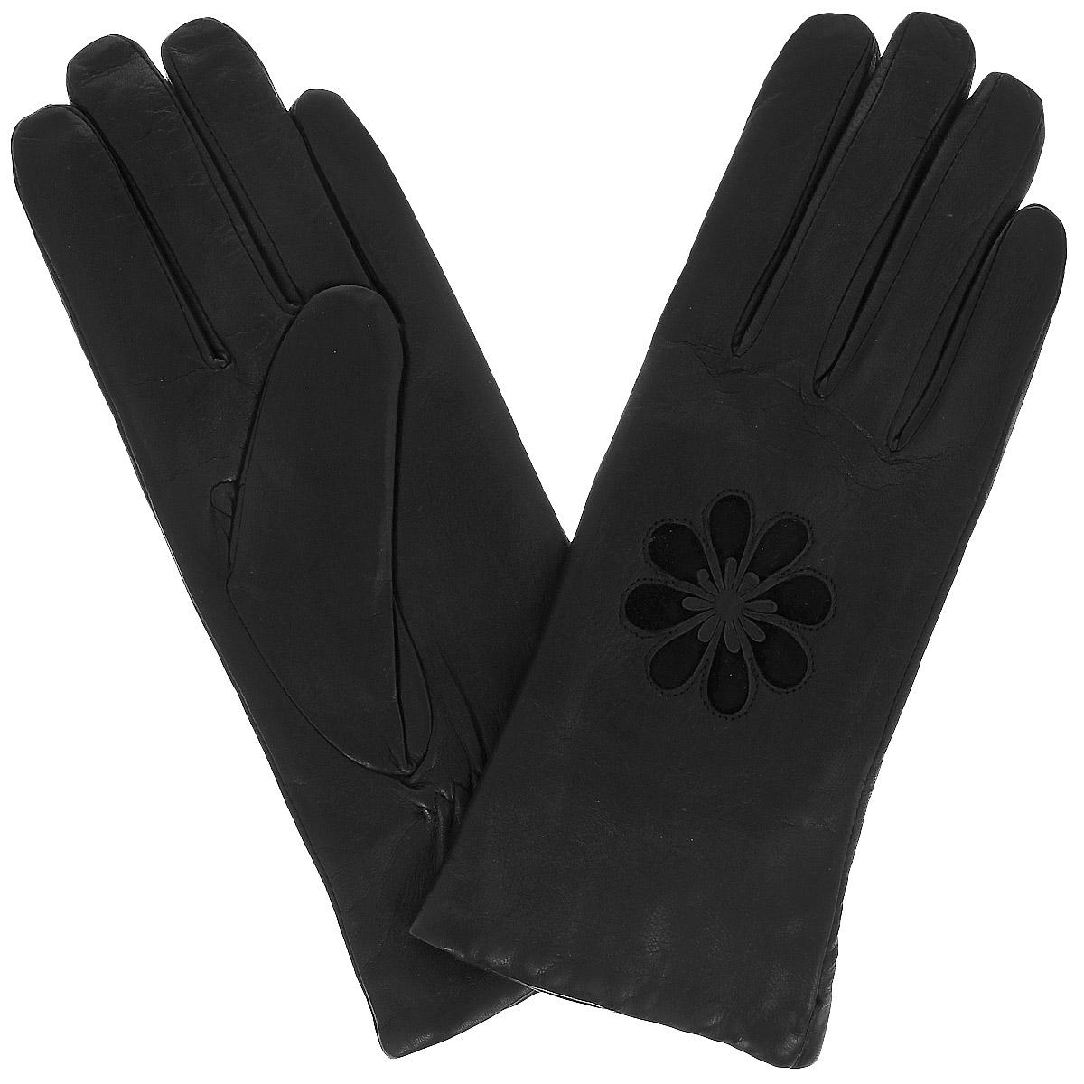 Перчатки11_CELE/BLСтильные женские перчатки Dali Exclusive с подкладкой из 100% шерсти выполнены из мягкой и приятной на ощупь натуральной кожи ягненка. С внешней стороны перчатки декорированы аппликацией в виде цветка с замшевыми вставками. На внутренней стороне перчатки под большим пальцем предусмотрена сборка на резинку и небольшой разрез. Такие перчатки подчеркнут ваш стиль и неповторимость и придадут всему образу нотки женственности и элегантности.