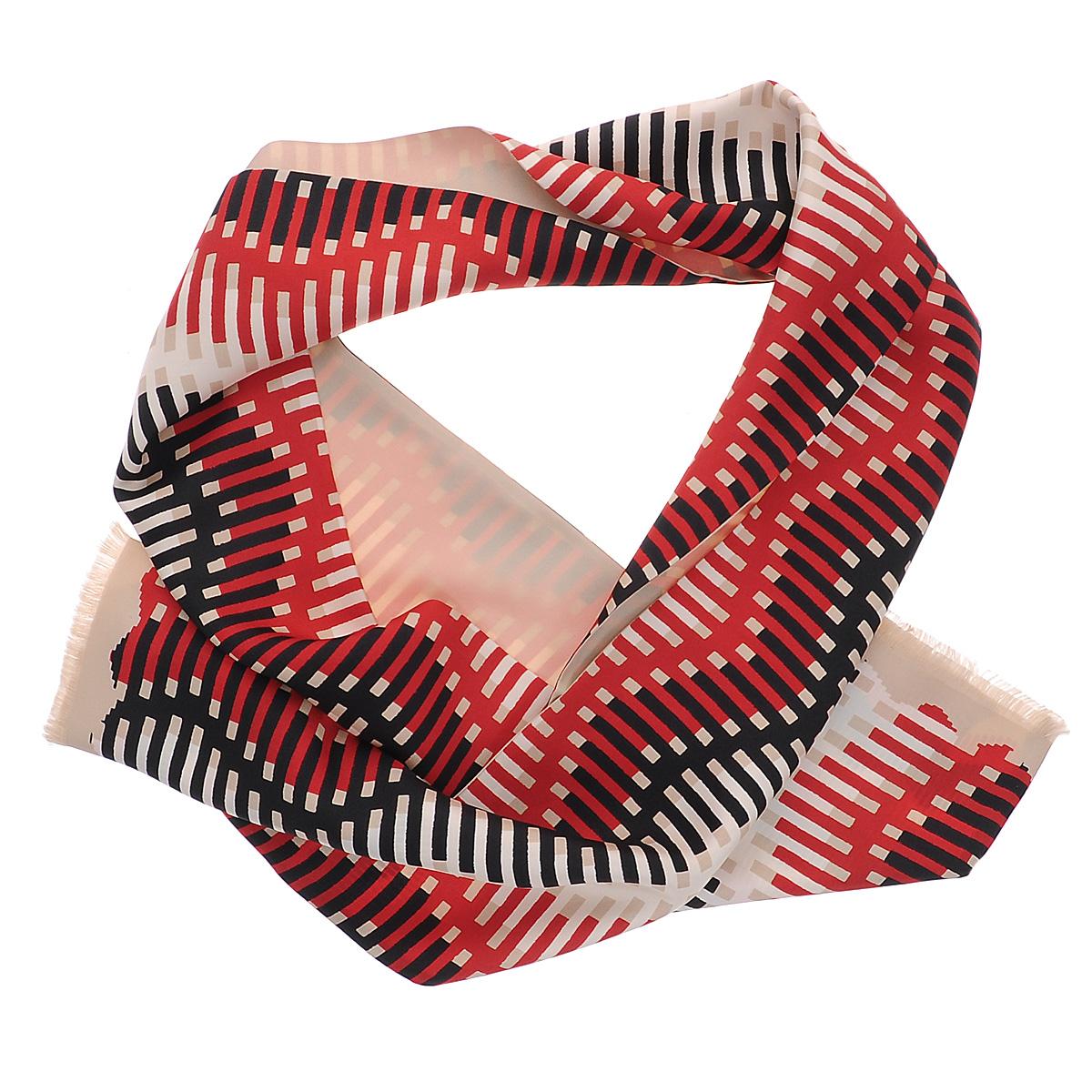 Шарф90003-10CЯркий мужской шарф Moltini станет изысканным аксессуаром, который призван подчеркнуть ваш стиль и индивидуальность. Он выполнен из 100% шелка и оформлен оригинальным принтом с цветными полосками. Края модели декорированы тонкой бахромой.