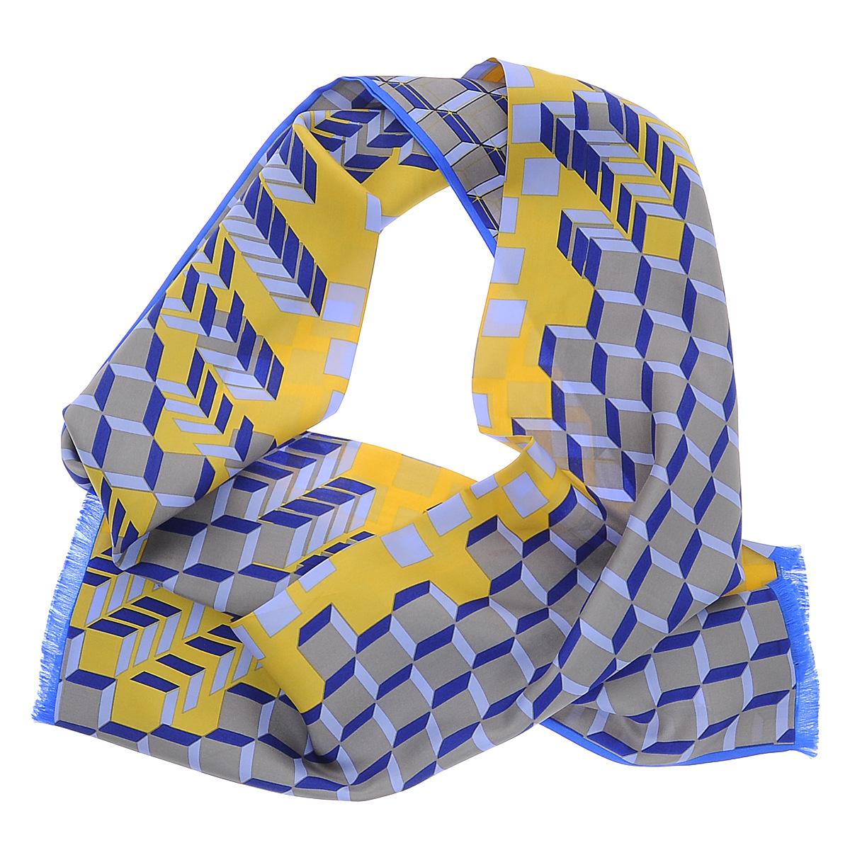 90001-10IЭлегантный мужской шарф Moltini станет изысканным аксессуаром, который призван подчеркнуть ваш стиль и индивидуальность. Он выполнен из 100% шелка и оформлен оригинальным принтом. Края модели декорированы тонкой бахромой.