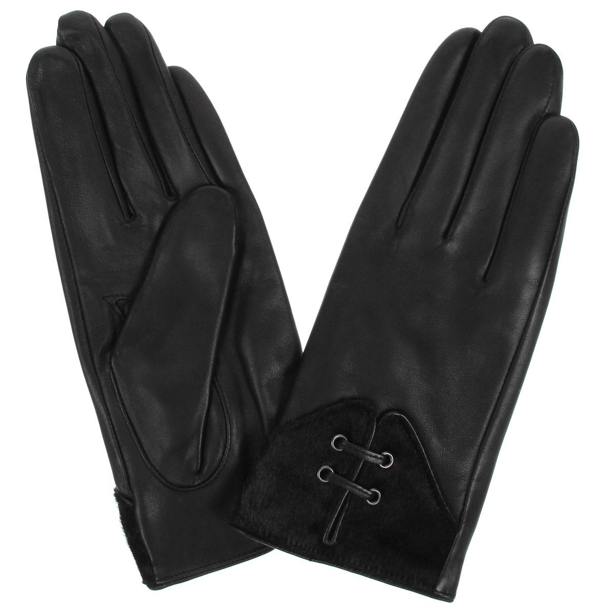 Перчатки женские. L-15L-15Стильные женские перчатки Falner заинтригуют любого мужчину и заставят завидовать любую женщину. Они не только защитят ваши руки от холода, но и станут великолепным украшением. Модель изготовлена из мягкой натуральной кожи с подкладкой из флиса. На лицевой стороне изделие оформлено вставками из меха, стянутыми декоративными стежками. Перчатки являются неотъемлемой принадлежностью одежды, вместе с этим аксессуаром вы обретаете женственность и элегантность. Они станут завершающим и подчеркивающим элементом вашего неповторимого стиля и индивидуальности.