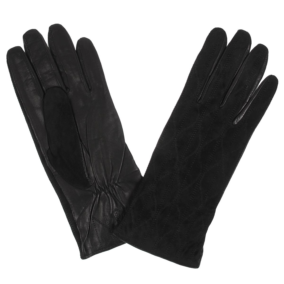 Перчатки женские. W2318W2318/10Стильные женские перчатки Baggini с подкладкой из шерсти выполнены из мягкой и приятной на ощупь натуральной кожи и замши. Лицевая сторона оформлена декоративной отстрочкой. С тыльной стороны под большим пальцем перчатки присборены на резинку. Такие перчатки подчеркнут ваш стиль и неповторимость и придадут всему образу нотки женственности и элегантности.