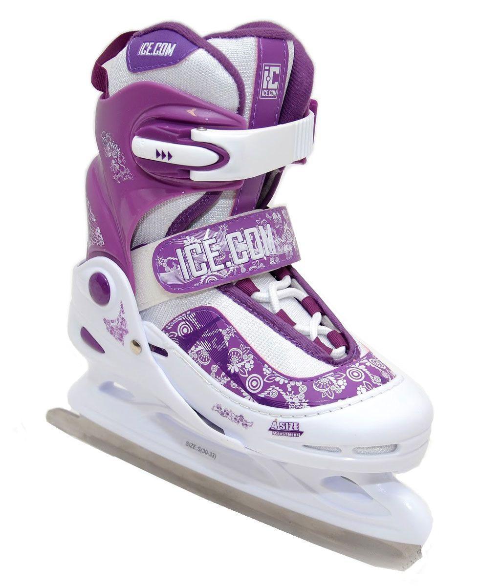 Ice.Com Evia 2013-2014 - ICE.COMIce.Com Evia 2013-2014 White-PurpleБотинок COMFORTABLE FIT очень хорошо держит ногу и при этом, позволит чувствовать удобство во время катания. Стальное фигурное лезвие обеспечит превосходное скольжение. Четкую фиксацию голени обеспечивают шнуровка Quick Lace, застежка на липучке Velcro, застежка с фиксатором Power Strap. Подошва - морозостойкий ПВХ. Теперь вам не придется покупать ребенку новые коньки каждый год, - предусматривается возможность изменения длины ботинка на 4 размера. Для того, чтобы Вам максимально точно подобрать размер коньков, узнайте длину стопы с точностью до миллиметра. Для этого поставьте босую ногу на лист бумаги А4 и отметьте на бумаге самые крайние точки Вашей стопы (пятка и носок). Затем измерьте обычной линейкой расстояние (до миллиметра) между этими отметками на бумаге. Не забудьте учесть 2-3 мм запаса под носок.
