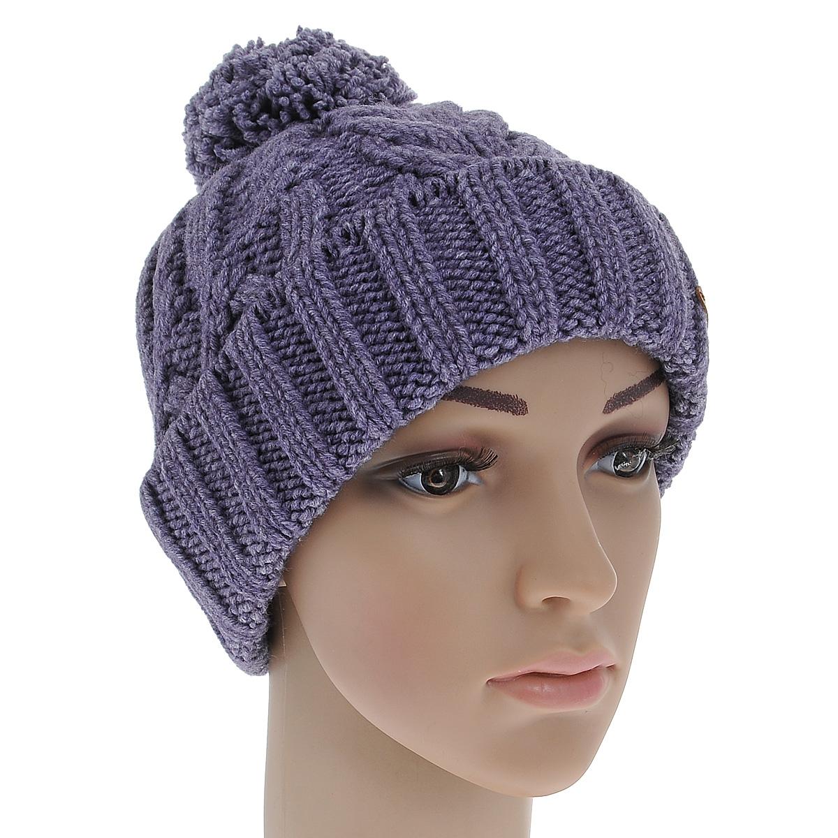 Шапка женская. 42484248Стильная женская шапка Noryalli - теплая модель для холодной погоды. Сочетание шерсти мериноса и акрила обеспечивает сохранение тепла и удобную посадку. Шапка выполнена оригинальной вязкой и оформлена кожаной эмблемой с логотипом бренда. Низ изделия дополнен декоративным отворотом, связанным крупной резинкой. Макушка украшена оригинальным помпоном. Такая шапка - комфортная защита от холода.