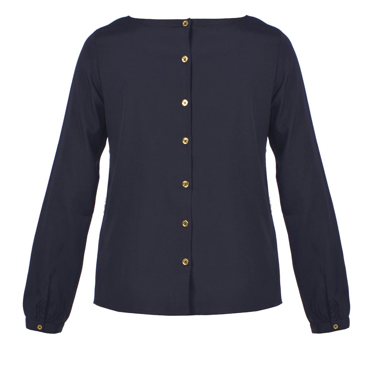 Блузка100893Стильная блуза ICHI выполнена из полиэстера. Модель свободного кроя, с круглым вырезом горловины и длинными рукавами подчеркнет женственность и красоту вашей фигуры. Изделие застегивается на пуговицы на спинке. Лицевая сторона декорирована вышивкой. Романтичная блуза - для девушки, стремящейся всегда оставаться стильной и элегантной.