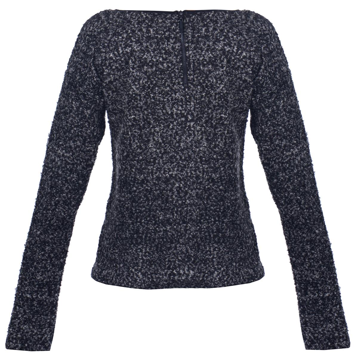 Пуловер женский. 1015064610150646Симпатичный женский пуловер Broadway, выполненный из буклированной пряжи, необычайно мягкий и приятный на ощупь, не сковывает движения, обеспечивая наибольший комфорт. Модель с круглым вырезом горловины и длинными рукавами-кимоно на спинке застегивается на молнию. Горловина отделана окантовкой из искусственной кожи. Теплый и практичный вариант для прохладной погоды.