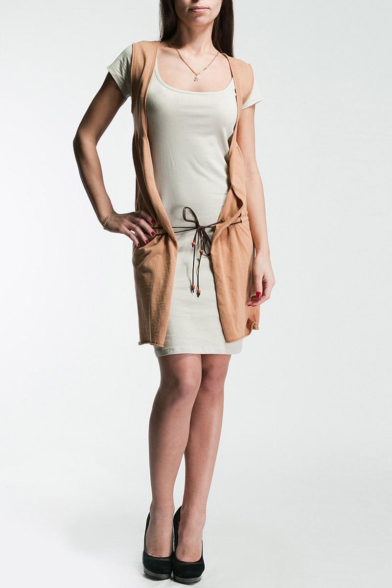 КардиганP1128690816000_N050Стильный женский кардиган, выполненный из хлопка, не сковывает движения, обеспечивая наибольший комфорт. Модель без рукавов застегивается спереди с помощью эластичных завязок. Этот оригинальный и модный кардиган послужит отличным дополнением к вашему гардеробу.