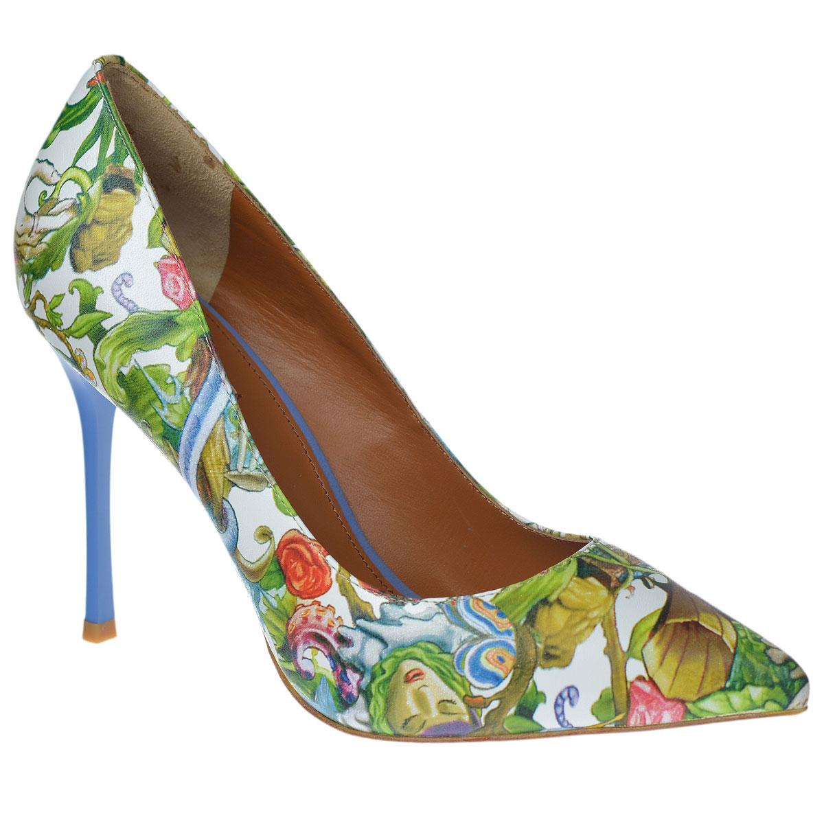 Туфли женские. 5998459984Эффектные женские туфли Vitacci поразят вас с первого взгляда. Модель изготовлена из высококачественной натуральной кожи и декорирована оригинальным принтом. Зауженный носок добавит женственности в ваш образ. Стелька из натуральной кожи позволяет ногам дышать. Высокий каблук-шпилька компенсирован скрытой платформой. Подошва с рифлением обеспечивает отличное сцепление с любой поверхностью. Изысканные туфли добавят шика в модный образ и подчеркнут ваш безупречный вкус.