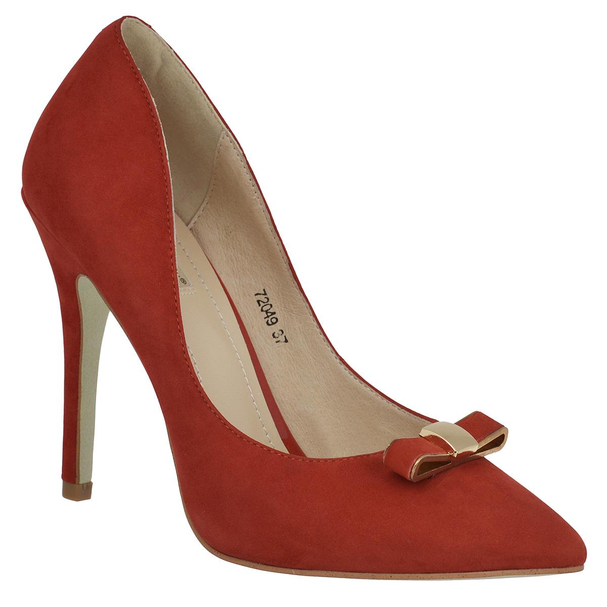 Туфли женские. 72072049Прелестные женские туфли Vitacci покорят вас с первого взгляда. Модель изготовлена из высококачественного натурального нубука. Мыс изделия оформлен милым бантиком, выполненным из металла со вставками из нубука. Зауженный носок добавит женственности в ваш образ. Стелька из натуральной кожи позволит ногам дышать. Высокий каблук компенсирован скрытой платформой. Стильные туфли подчеркнут вашу яркую индивидуальность, позволят выделиться среди окружающих.