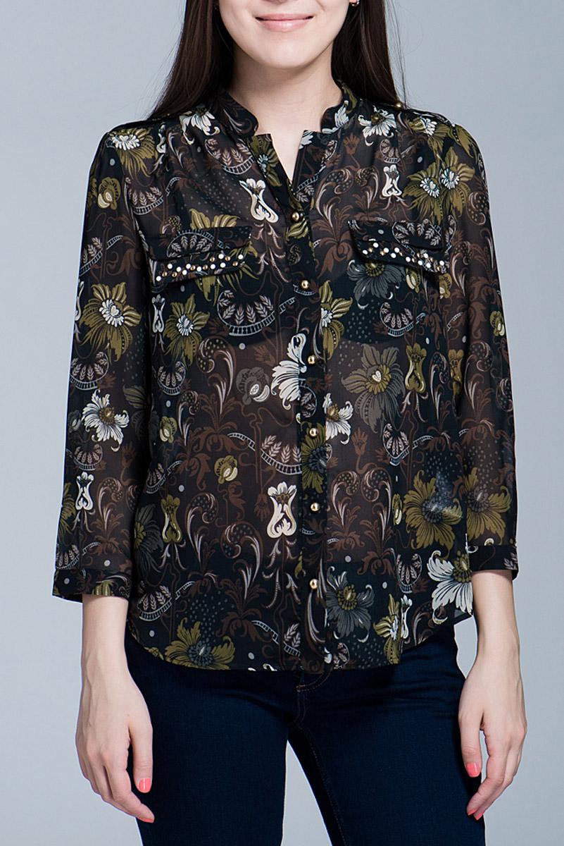 Блузка70DCL0123M024Модная, стильная блузка свободного покроя с рукавами 3/4 из полупрозрачной ткани с цветочным рисунком позволит вам и в будние дни выглядеть стильно и модно. Эта удобна и красивая блуза великолепно подойдет каждой современной жительнице мегаполиса.
