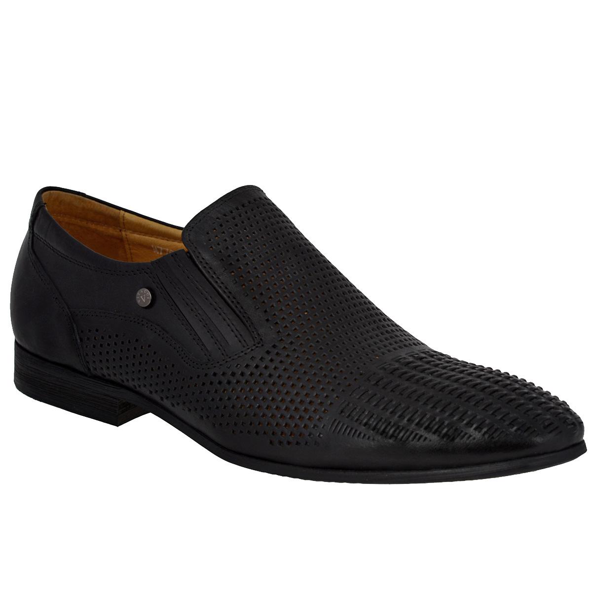 Туфли мужские. M77034M77034Трендовые мужские туфли Vitacci займут достойное место в вашем гардеробе. Модель изготовлена из высококачественной натуральной кожи и оформлена декоративным плетением на мысе, перфорацией для лучшей воздухопроницаемости. Одна из боковых сторон туфель украшена небольшой металлической пластиной с названием и логотипом бренда. Резинки, расположенные на подъеме, обеспечивают оптимальную посадку модели на ноге. Стелька из натуральной кожи позволяет ногам дышать. Подкладка выполнена из нубука и натуральной кожи. Низкий каблук и подошва с противоскользящим рифлением обеспечивают отличное сцепление с любой поверхностью. Стильные туфли не оставят равнодушным ни одного мужчину.