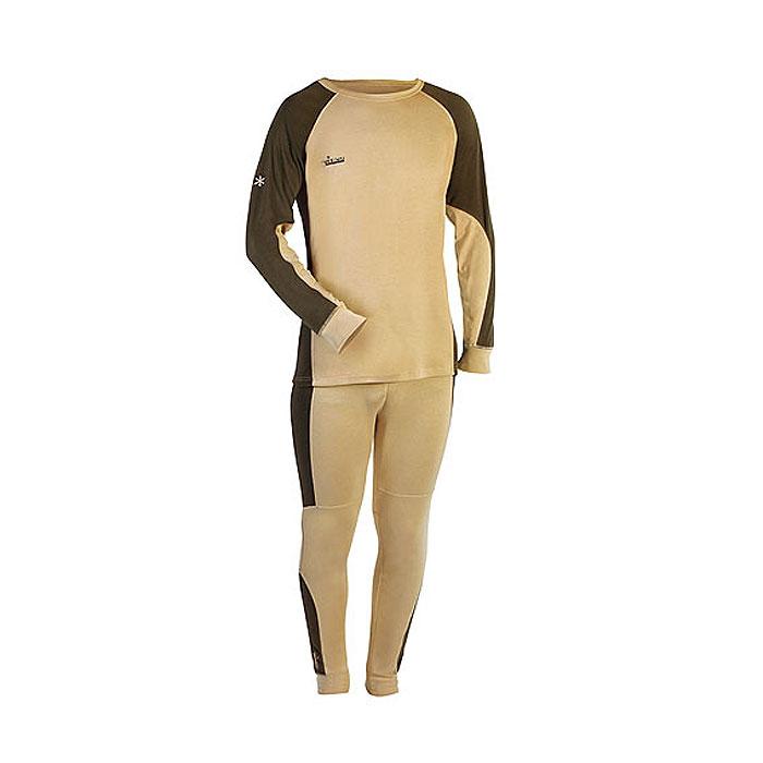 Термобелье комплект (брюки и кофта)302100Мужское термобелье Norfin Comfort Line, состоящее из футболки с длинным рукавом и брюк, предназначено для средней физической активности. Термобелье изготовлено из полиэстера с добавлением спандекса. Чтобы не стеснять движений тела, термобелье имеет максимальную эластичность в необходимых зонах. В области поясницы и седалища предусмотрены дополнительные флисовые вставки, которые не только служат дополнительной защитой от холода, но и создают дополнительный комфорт. Футболка с длинными рукавами-реглан имеет круглый вырез горловины. Рукава дополнены широкими эластичными манжетами. Спинка изделия удлинена. На груди футболка оформлена небольшой вышивкой в виде названия бренда. Брюки на талии имеют широкий эластичный пояс, дополненный скрытым шнурком. Низ брючин дополнен широкими эластичными манжетами.