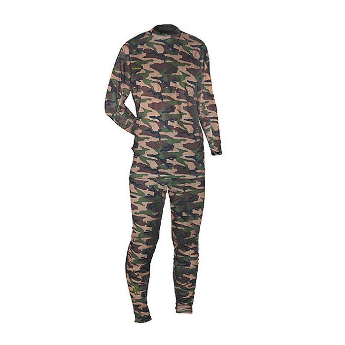 Термобелье комплект (брюки и кофта)300820Тонкое мужское термобелье Norfin Thermo Line Camo, состоящее из футболки с длинным рукавом и брюк, используется для повседневной носки в прохладную погоду. Дышащее белье надевается на голое тело. Белье изготовлено из 100% полиэстера. Футболка с длинными рукавами имеет небольшой воротник-стойку. Рукава дополнены широкими эластичными манжетами. Спинка изделия удлинена. На груди футболка оформлена небольшой вышивкой в виде названия бренда. Брюки на талии имеют широкий эластичный пояс, дополненный скрытым шнурком. Низ брючин дополнен широкими эластичными манжетами.