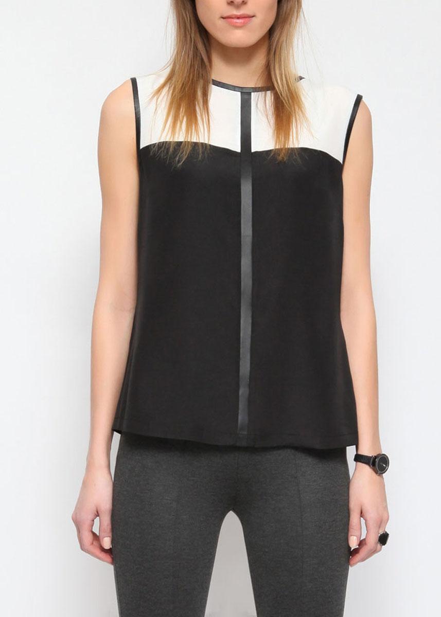 БлузкаSBW0164CAСтильная женская блуза Top Secret, выполненная из 100% полиэстера, не сковывает движения, обеспечивая наибольший комфорт. Модель свободного кроя без рукавов и с круглым вырезом горловины по спинке имеет длинную скрытую застежку-молнию. Пройма рукавов и вырез горловины дополнены кожаными вставками. Спереди модель оформлена контрастной трикотажной вставкой и кожаной вставкой. Такая модель будет дарить вам комфорт в течение всего дня и послужит замечательным дополнением к вашему гардеробу.