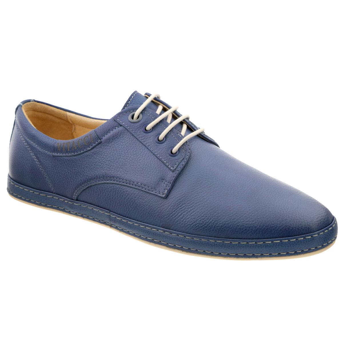 M15027**Стильные мужские туфли Vitacci покорят вас своим удобством. Модель выполнена из натуральной высококачественной кожи и декорирована двойной прострочкой вдоль ранта, задним наружным ремнем. Боковая сторона оформлена тисненой надписью в виде названия бренда. Шнуровка прочно зафиксирует модель на вашей ноге. Съемная стелька из материала EVA с внешней поверхностью из натуральной кожи гарантирует комфорт при движении. Подошва с противоскользящим рифлением обеспечивает идеальное сцепление с поверхностью. Модные туфли прекрасно дополнят образ в стиле casual.