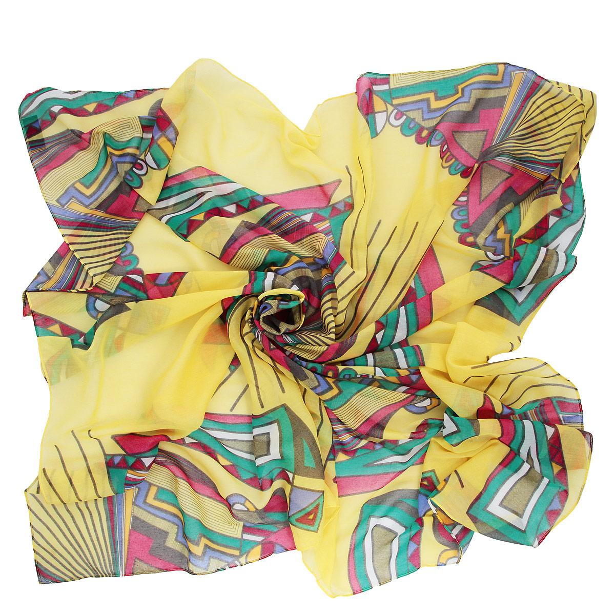 3000441-05 ПлатокЯркий платок Venera подчеркнет ваш неповторимый образ. Изделие выполнено из вискозы и оформлено геометрическим принтом. Этот модный аксессуар женского гардероба гармонично дополнит образ современной женщины, следящей за своим имиджем и стремящейся всегда оставаться стильной и элегантной.