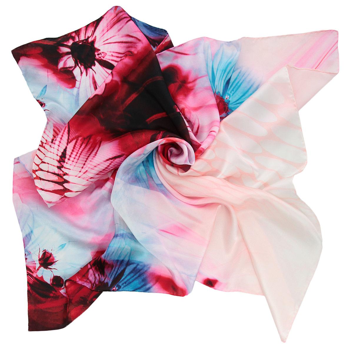 Платок женский. 18021291802129-04 ПлатокВеликолепный платок Venera подчеркнет ваш неповторимый образ. Изделие выполнено из натурального шелка и оформлено цветочным принтом. Края платка обработаны вручную. Этот модный аксессуар женского гардероба гармонично дополнит образ современной женщины, следящей за своим имиджем и стремящейся всегда оставаться стильной и элегантной.