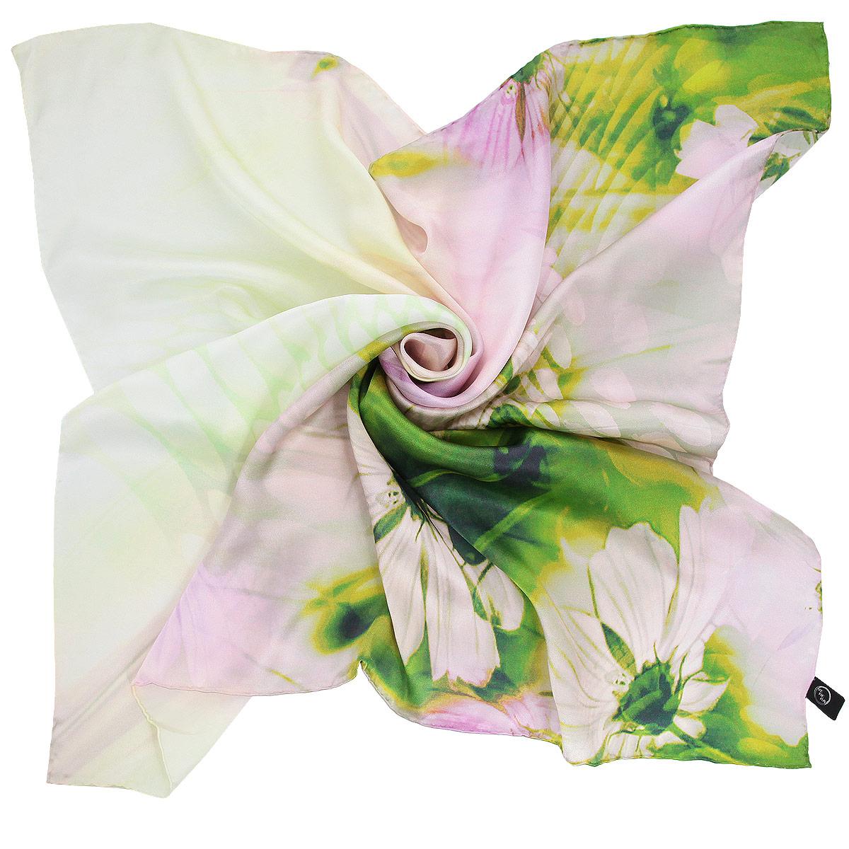 1802129-04 ПлатокВеликолепный платок Venera подчеркнет ваш неповторимый образ. Изделие выполнено из натурального шелка и оформлено цветочным принтом. Края платка обработаны вручную. Этот модный аксессуар женского гардероба гармонично дополнит образ современной женщины, следящей за своим имиджем и стремящейся всегда оставаться стильной и элегантной.