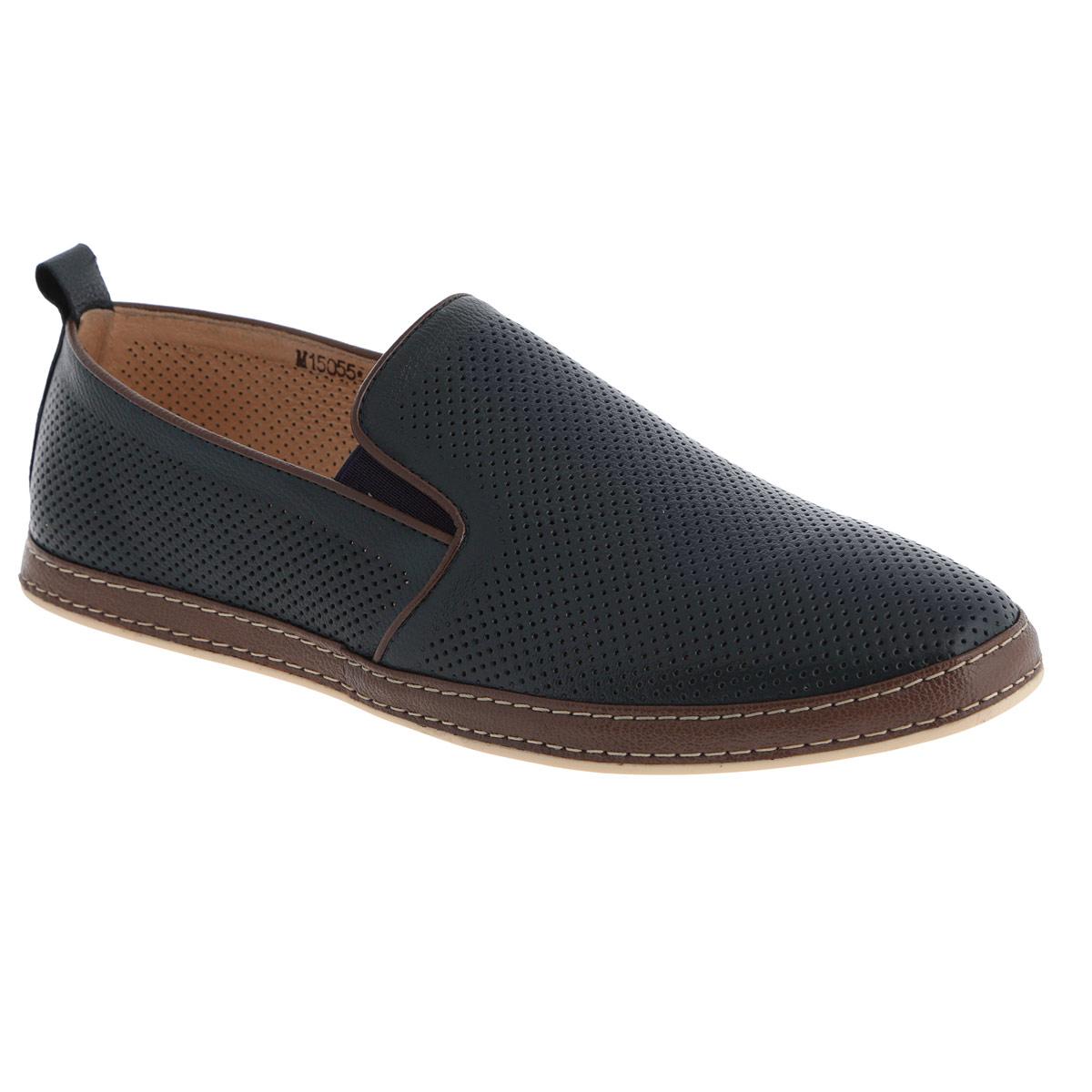 M15055*Стильные мужские слипоны Vitacci займут достойное место среди вашей коллекции обуви. Модель изготовлена из натуральной высококачественной кожи и декорирована вставкой из натуральной кожи другого цвета с двойной прострочкой вдоль ранта, задним наружным ремнем. Перфорация обеспечивает отличную вентиляцию, позволяет ногам дышать. Резинки, расположенные на подъеме, гарантируют оптимальную посадку модели на ноге. Съемная стелька из материала EVA с внешней поверхностью из натуральной кожи комфортна при движении. Рифленая поверхность подошвы защищает изделие от скольжения. Модные слипоны покорят вас своим дизайном и удобством.
