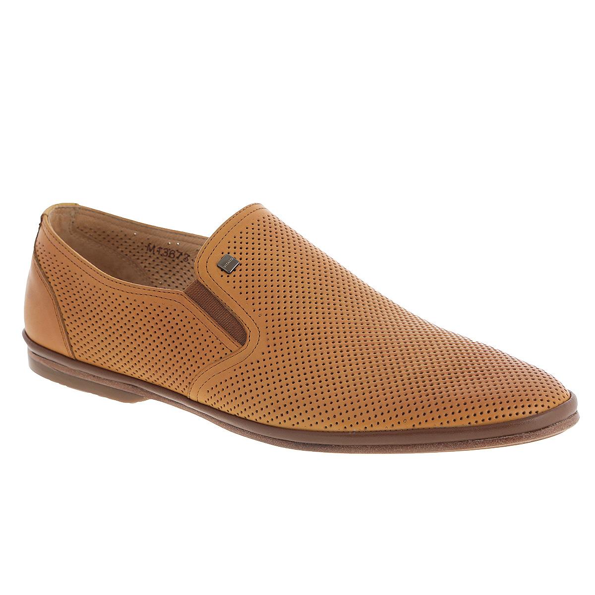 Туфли мужские. M1367M13672Стильные мужские туфли Vitacci займут достойное место среди вашей коллекции обуви. Модель изготовлена из натуральной высококачественной кожи и декорирована небольшой металлической пластиной с названием бренда на подъеме. Перфорация обеспечивает отличную вентиляцию, позволяет ногам дышать. Резинки, расположенные по бокам, гарантируют оптимальную посадку модели на ноге. Стелька из натуральной кожи комфортна при движении. Подошва дополнена противоскользящим рифлением. Изысканные туфли прекрасно завершат ваш элегантный образ.