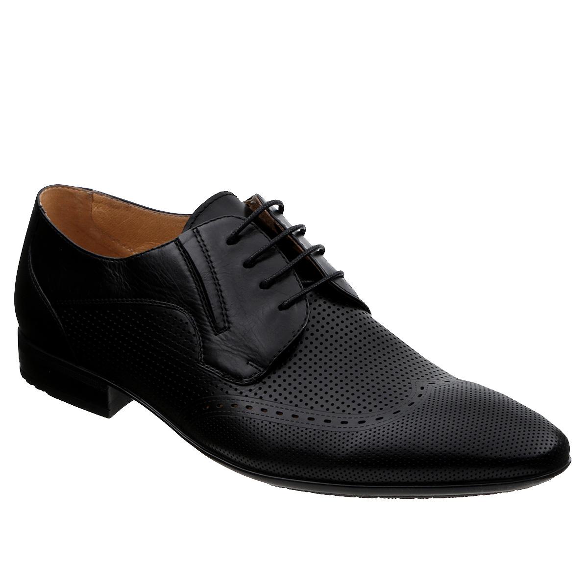 M171085Элегантные мужские туфли Vitacci займут достойное место среди вашей коллекции обуви. Модель выполнена из натуральной высококачественной кожи и декорирована перфорацией. Шнуровка надежно закрепит модель на ноге. Резинки, расположенные на подъеме, гарантируют оптимальную посадку модели на ноге. Стелька из натуральной кожи комфортна при движении. Умеренной высоты каблук и подошва с рифлением обеспечивают отличное сцепление с поверхностью. Изысканные туфли станут прекрасным завершением вашего модного образа.