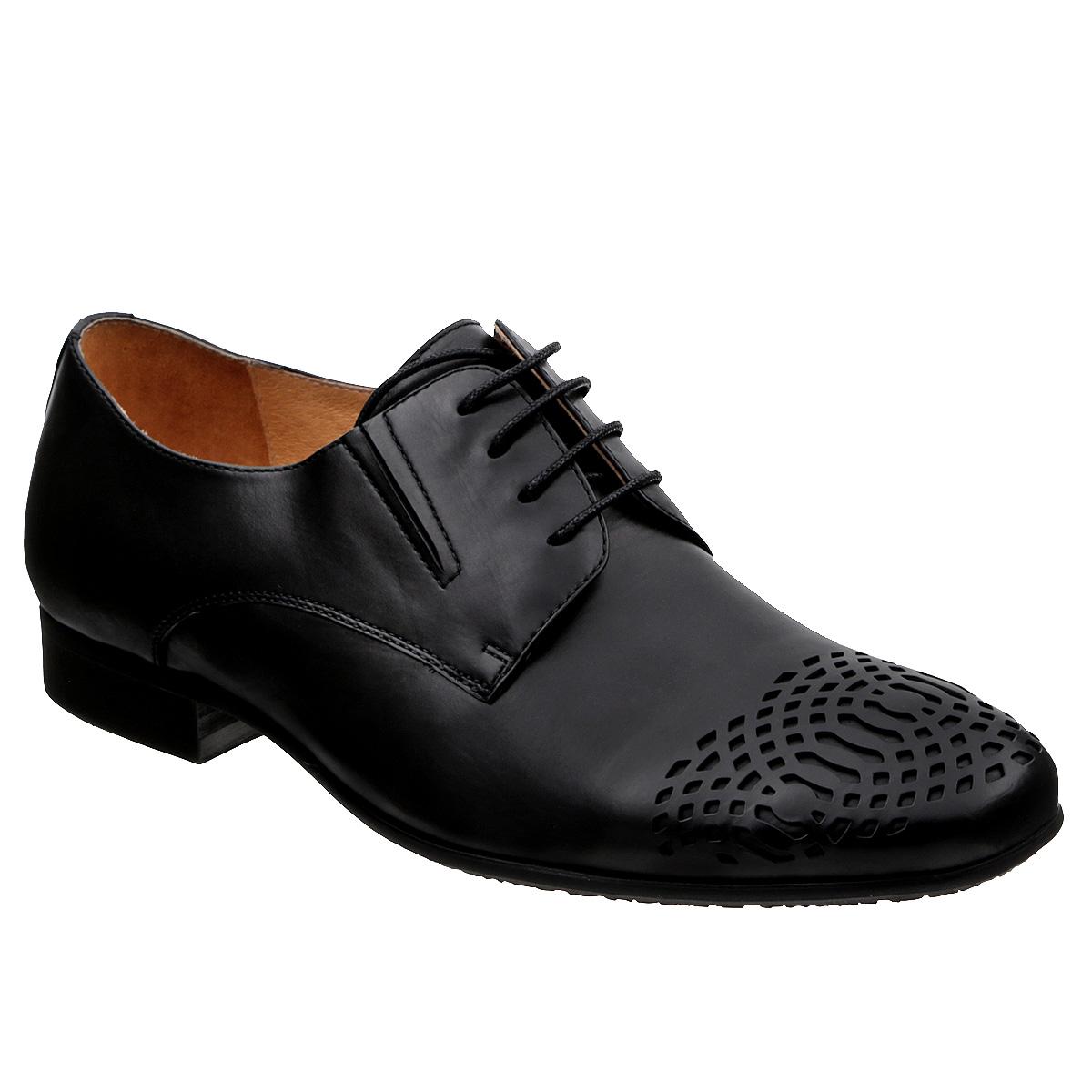 M171017Элегантные мужские полуботинки Vitacci займут достойное место в вашем гардеробе. Модель выполнена из натуральной высококачественной кожи и оформлена оригинальным перфорированным узором на мысе, задним наружным ремнем. Шнуровка прочно зафиксирует модель на вашей ноге. Резинки, расположенные на подъеме, обеспечивают оптимальную посадку модели на ноге. Стелька из натуральной кожи позволяет ногам дышать. Низкий устойчивый каблук удобен при ходьбе. Каблук и подошва с рифлением не скользят. Изысканные полуботинки отлично дополнят ваш модный образ.