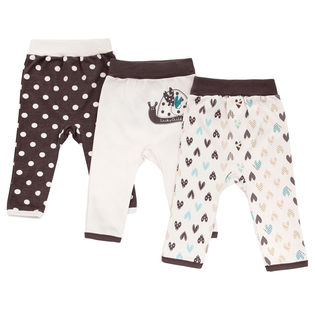Штанишки30-139Удобные штанишки для новорожденного Lucky Child Улитки на широком поясе послужат идеальным дополнением к гардеробу вашего ребенка. Штанишки, изготовленные из интерлока - натурального хлопка, необычайно мягкие и легкие, не раздражают нежную кожу ребенка и хорошо вентилируются, а эластичные швы приятны телу младенца и не препятствуют его движениям. Штанишки, благодаря мягкому эластичному поясу не сдавливают животик ребенка и не сползают, обеспечивая ему наибольший комфорт, идеально подходят для ношения с подгузником и без него. В комплект входят трое штанишек разной расцветки, оформленные оригинальным ненавязчивым принтом: гороховым принтом, принтом с изображением сердечек, а также принтом с изображением улитки. Также штанишки украшены небольшой нашивкой с названием бренда. Штанишки очень удобный и практичный вид одежды для малышей, которые уже немного подросли. Отлично сочетаются с футболками, кофточками и боди. В таких штанишках вашему ребенку будет уютно и...