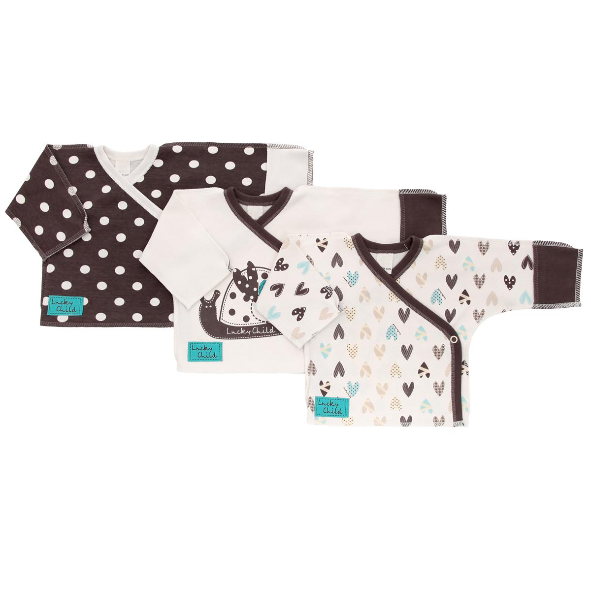 30-137Распашонка-кимоно Lucky Child Улитки послужат идеальным дополнением к гардеробу вашего ребенка. Распашонка, изготовленная из интерлока - натурального хлопка, необычайно мягкая и легкая, не раздражает нежную кожу ребенка и хорошо вентилируется, а эластичные швы, выполненные наружу, приятны телу младенца и не препятствуют его движениям. В комплект входят три распашонки с V-образным вырезом горловины и длинными рукавами-кимоно, оформленные различным принтом: гороховым принтом, принтом с мелким изображением сердечек по всей поверхности и принтом с изображением улитки. Также распашонки дополнены специальными отворотами на рукавах и украшены небольшой нашивкой с названием бренда. Распашонки застегиваются на металлические застежки-кнопки по принципу кимоно. В таких кимоно вашему ребенку будет уютно и комфортно!
