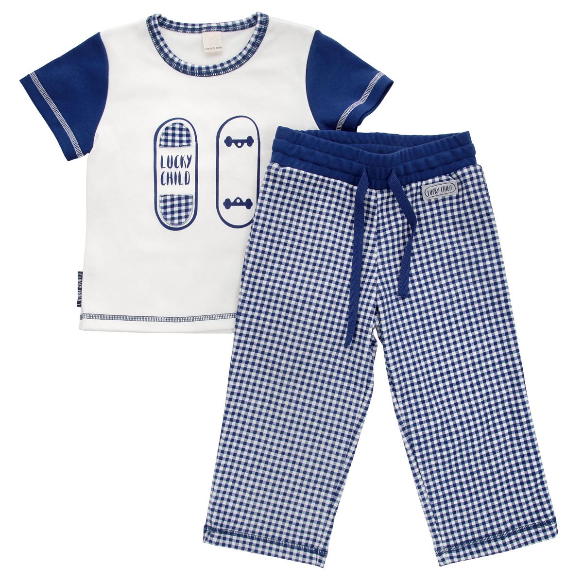 Пижама13-403Очаровательная пижама для мальчика Lucky Child, состоящая из футболки и брюк, идеально подойдет вашему маленькому мужчине и станет отличным дополнением к детскому гардеробу. Изготовленная из натурального хлопка - интерлока, она необычайно мягкая и приятная на ощупь, не раздражает нежную кожу ребенка и хорошо вентилируется, а эластичные швы приятны телу и не препятствуют его движениям. Футболка с короткими рукавами и круглым вырезом горловины оформлена спереди оригинальной аппликацией и принтом с изображением скейтборда. Горловина оформлена принтом в клетку. Низ рукавов и низ изделия оформлены контрастной фигурной прострочкой. Брюки на талии имеют широкий эластичный пояс со шнурком, благодаря чему они не сдавливают животик ребенка и не сползают. Оформлены брюки принтом в клетку и небольшой нашивкой с названием бренда. Такая пижама идеально подойдет вашему ребенку, а мягкие полотна позволят ему комфортно чувствовать себя во время сна!