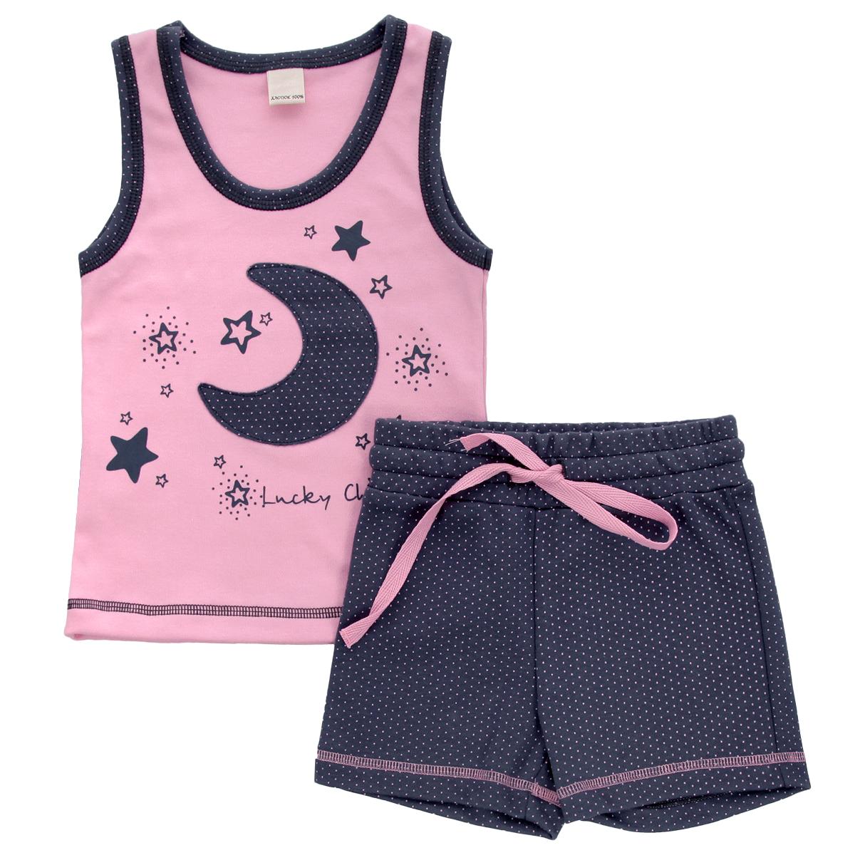 Комплект одежды12-411Комплект для девочки Lucky Child, состоящий из майки и шорт, идеально подойдет вашей дочурке. Изготовленный из натурального хлопка - интерлока, он необычайно мягкий и приятный на ощупь, не сковывает движения и позволяет коже дышать, не раздражает даже самую нежную и чувствительную кожу ребенка, обеспечивая ему наибольший комфорт. Майка с круглым вырезом горловины оформлена спереди оригинальной аппликацией в виде месяца, а также принтом с изображением звездочек и названием бренда. Горловина и пройма рукавов оформлены гороховым принтом. Низ изделия оформлен контрастной фигурной прострочкой. Шортики на талии имеют широкую эластичную резинку со шнурком, благодаря чему они не сдавливают живот ребенка и не сползают. Оформлено изделие мелким гороховым принтом и контрастной прострочкой. Оригинальный дизайн и расцветка делают этот комплект незаменимым предметом детского гардероба. В нем вашей маленькой моднице будет комфортно и уютно, и она всегда будет в центре внимания!