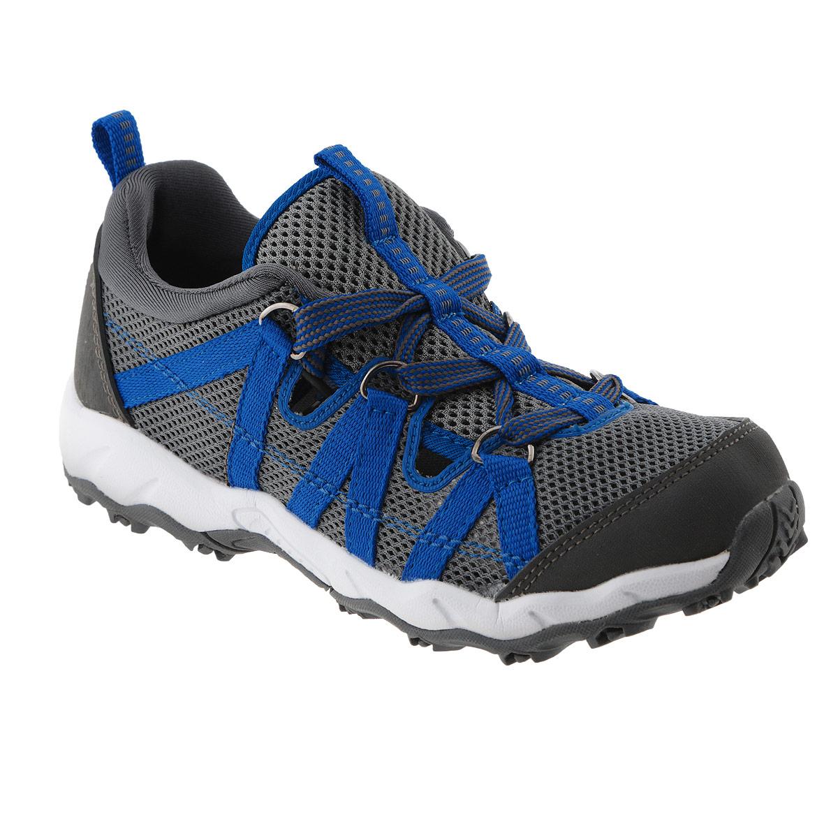569213-9670BСтильные детские кроссовки Hieta от Reima прекрасно подойдут для активного отдыха на открытом воздухе. Модель выполнена из полиэстера и декорирована вставками из резины, логотипом бренда на заднике. Сетчатая поверхность верха обеспечивает отличную вентиляцию, позволяет ногам ребенка дышать. Резиновый каркас носка защищает детскую стопу от ударов. Удобная шнуровка, пропущенная через металлические кольца, надежно фиксирует модель на ноге. Задник оснащен ярлычком, который выполняет функцию ложки для обуви. Мягкая стелька из EVA-материала с текстильной поверхностью гарантирует максимальный комфорт при ходьбе. Термопластичная резиновая подошва - с противоскользящим рифлением. Удобные кроссовки придутся по душе вам и вашему ребенку! К кроссовкам прилагается текстильный мешок для машинной стирки.