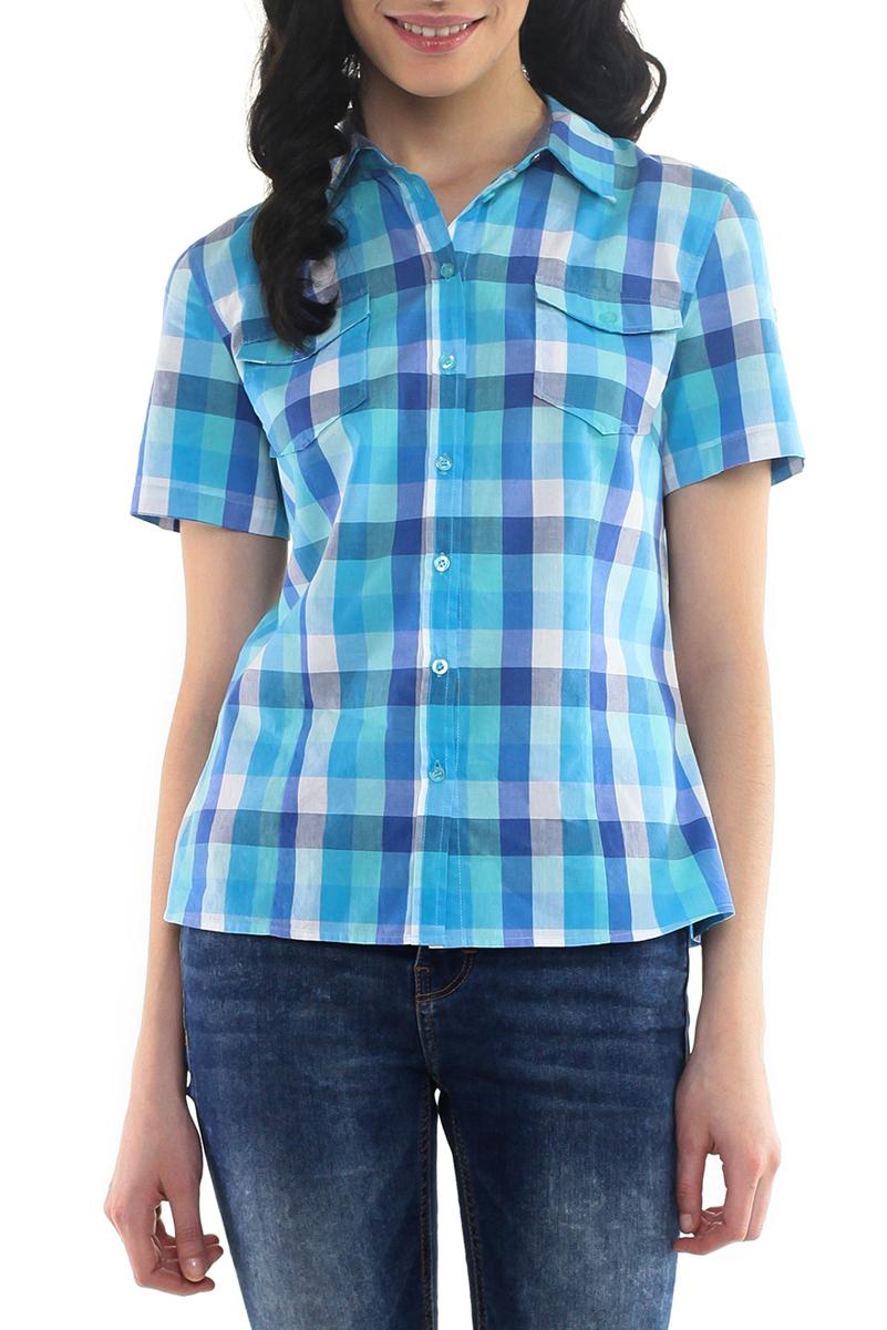 Рубашка женская. B195201B195201Стильная клетчатая рубашка Baon выполнена из натурального хлопка. Модель приталенного силуэта с отложным воротничком и короткими рукавами. Изделие застегивается на пуговицы по всей длине. На груди рубашка дополнена двумя накладными карманами. Рукава можно подогнуть и зафиксировать при помощи хлястика на пуговицу. Модная рубашка займет достойное место в вашем гардеробе.