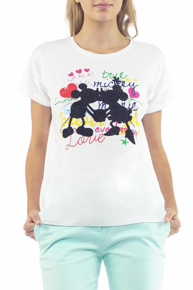 ФутболкаB235050Симпатичная женская футболка Baon, выполненная из высококачественного материала, обладает высокой теплопроводностью, воздухопроницаемостью и гигроскопичностью, позволяет коже дышать. Модель свободного кроя с короткими рукавами и круглым вырезом горловины - идеальный вариант для создания образа в стиле Casual. Футболка оформлена оригинальным принтом и украшена стразами. Такая модель будет дарить вам комфорт в течение всего дня и послужит замечательным дополнением к вашему гардеробу.