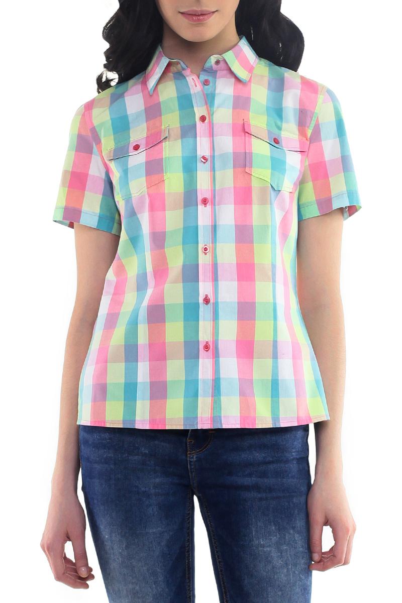 РубашкаB195201Стильная клетчатая рубашка Baon выполнена из натурального хлопка. Модель приталенного силуэта с отложным воротничком и короткими рукавами. Изделие застегивается на пуговицы по всей длине. На груди рубашка дополнена двумя накладными карманами. Рукава можно подогнуть и зафиксировать при помощи хлястика на пуговицу. Модная рубашка займет достойное место в вашем гардеробе.