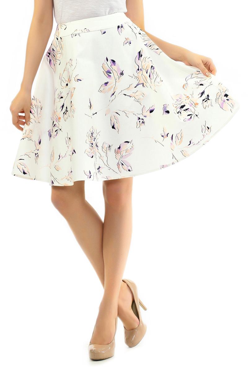 Юбка. B475040B475040Стильная юбка Baon изготовлена из мягкого хлопка с добавлением эластана. Юбка-солнце оформлена нежным цветочным принтом. Модель с широким поясом, застегивается сбоку на потайную застежку-молнию. Эта модная и в тоже время комфортная юбка - отличный вариант на каждый день.