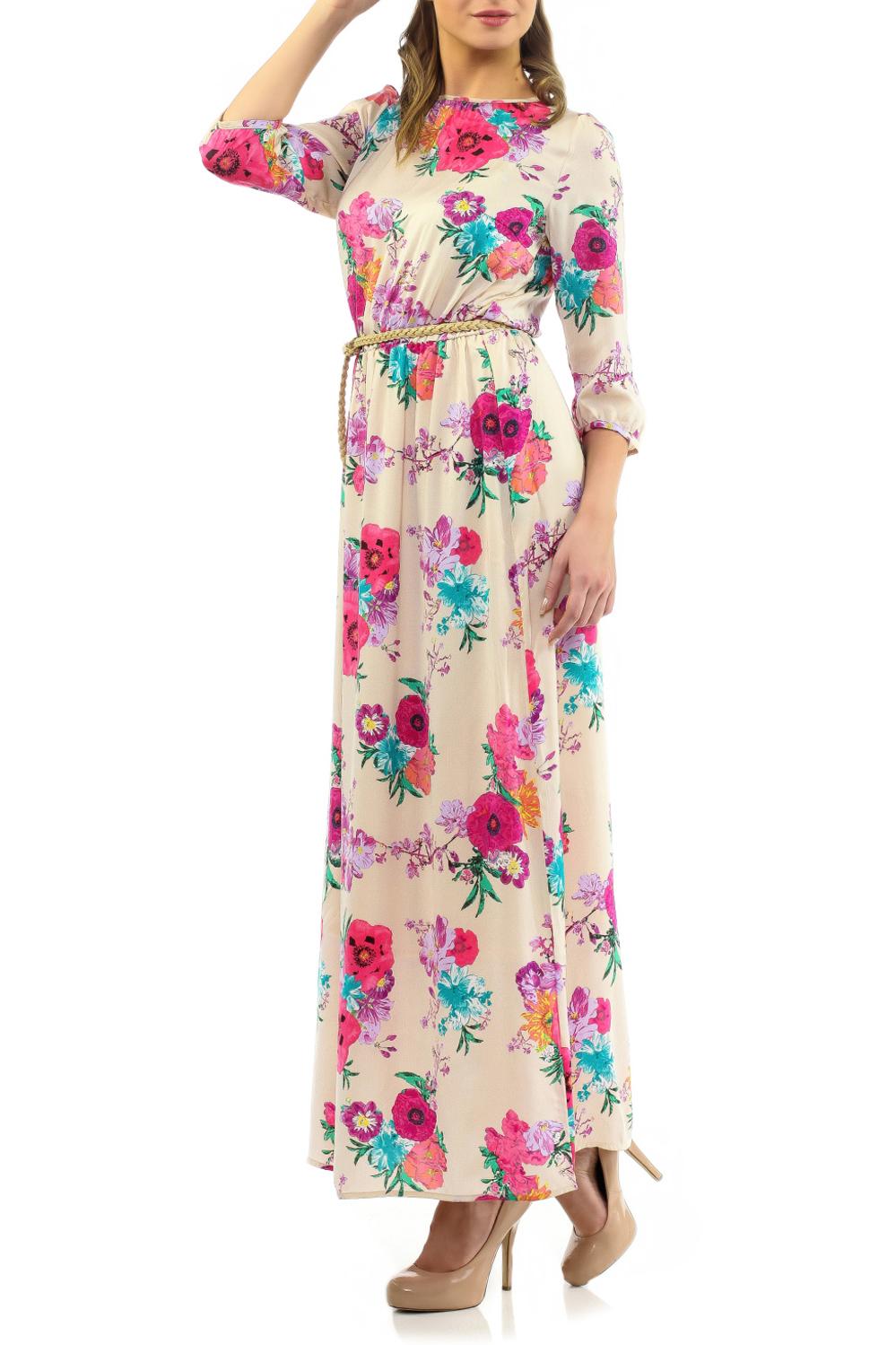 Платье. B455035B455035Элегантное платье Baon макси длины придаст очарование и женственность своей обладательнице. Модель с отрезной талией на резинке, круглым вырезом горловины и рукавами 3/4. Платье выполнено из приятной на ощупь струящейся ткани - высококачественного полиэстера с цветочным принтом. На спинке платье застегивается на пуговку. На талии модель дополнена изящным ремешком. Изысканный наряд создаст обворожительный неповторимый образ. Приталенный силуэт подчеркивает стройность фигуры.