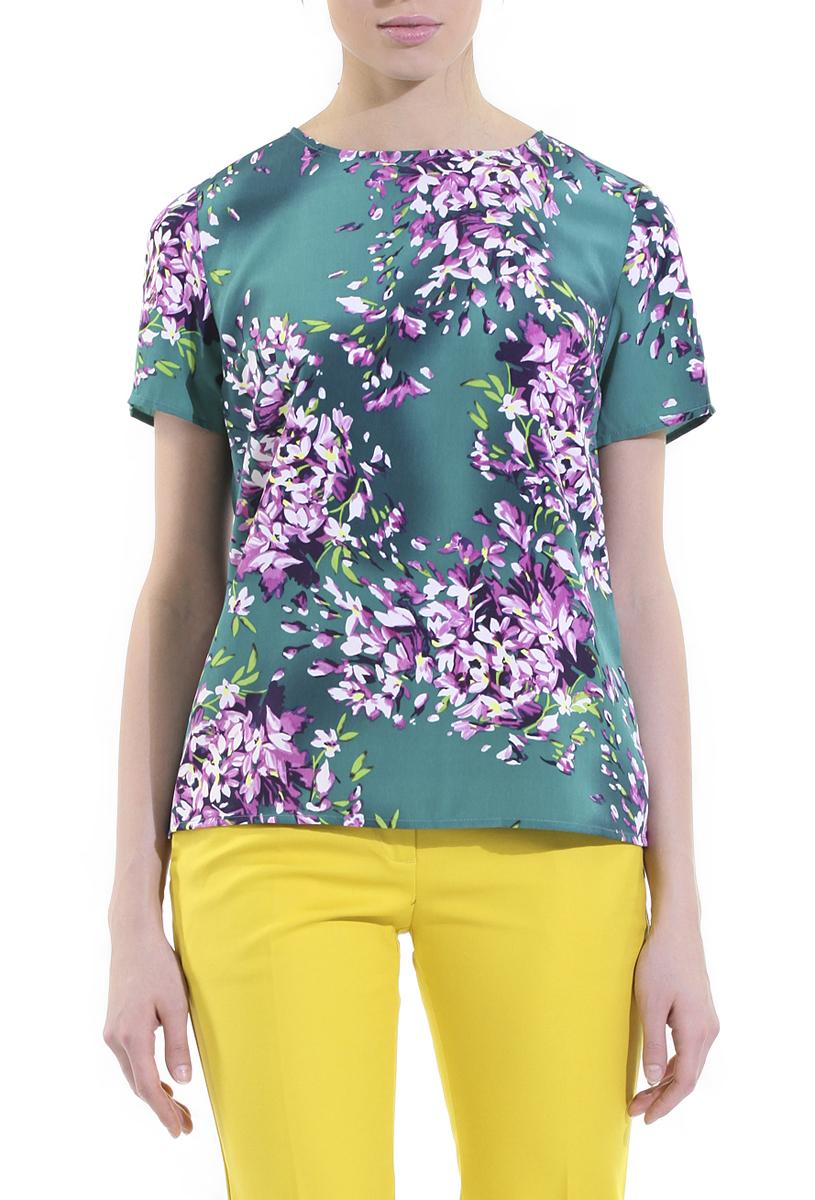 Блузка. B195001B195001Стильная блузка Baon с коротким рукавом сделает вас неотразимой и в будни, и в праздники. Изготовлена блузка из полиэстера. Модель прямого кроя с круглым вырезом горловины. Изделие оформлено цветочным принтом. На спинке блузка застегивается на металлическую застежку-молнию. Такая модель займет достойное место в вашем гардеробе.