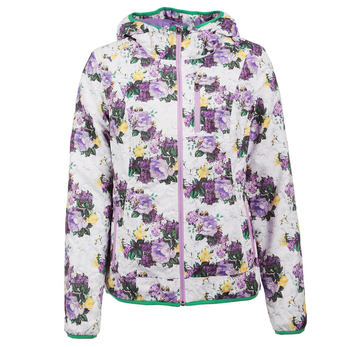 B035303Женская стеганая куртка Baon отлично подойдет для прохладной погоды. Куртка выполнена из непродуваемого материала с утеплителем из синтепона. Модель прямого кроя с капюшоном на кулиске, застегивается на молнию. Куртка оформлена цветочным принтом и дополнена боковыми карманами на молниях и вшитым нагрудным кармашком на застежке-молнии. Эта модная куртка послужит отличным дополнением к вашему гардеробу!