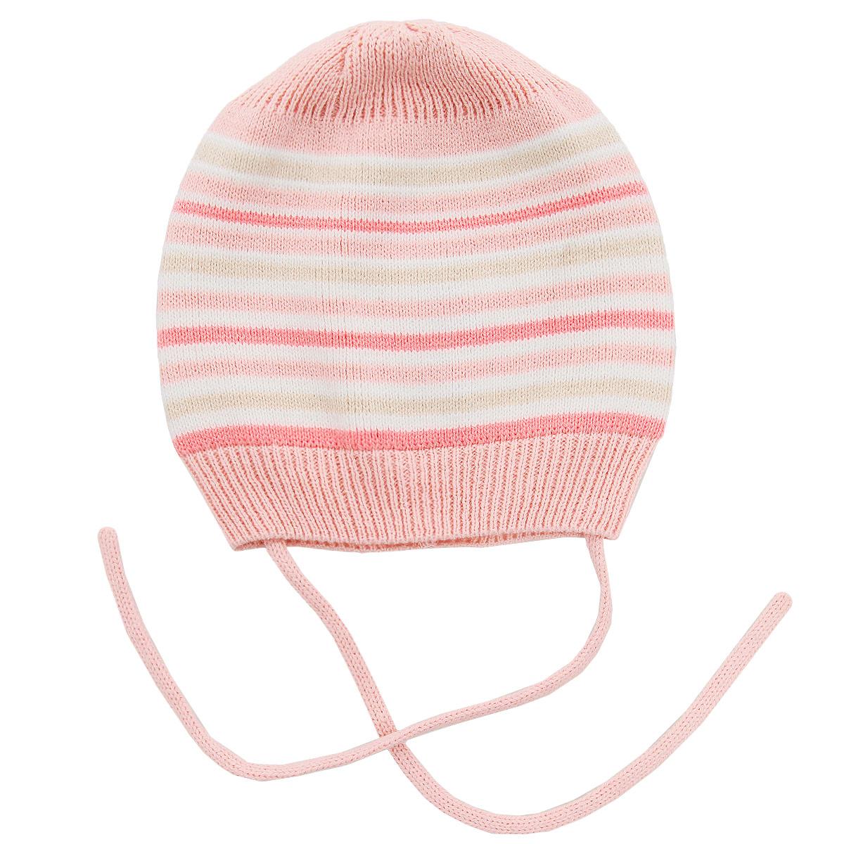 Шапка для девочки. 158807158807Тонкая трикотажная шапка для девочки PlayToday Baby прекрасно подойдет для прогулок в ветреную погоду. Изготовленная из хлопка с добавлением акрила, она необычайно мягкая и легкая, не раздражает нежную кожу ребенка и хорошо вентилируется. По краю модель связана резинкой. Изделие дополнено завязками, которые надежно фиксируют шапочку на голове малышки, и оформлено принтом в полоску. Такая шапка станет прекрасным дополнением к гардеробу маленькой модницы.
