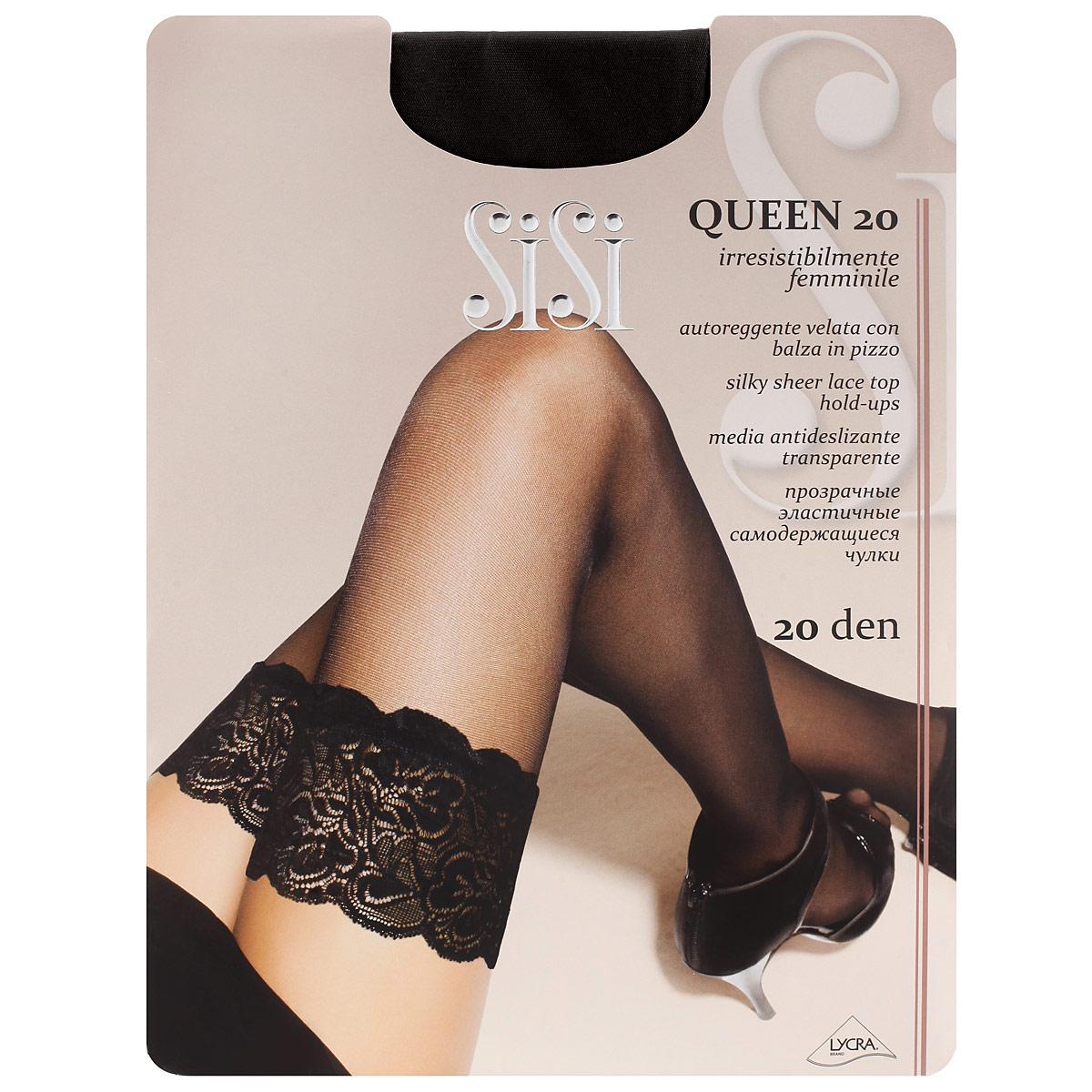 Чулки женские Queen 20Queen 20 BiancoТонкие прозрачные чулки Sisi Queen 20 с фиксирующей резинкой на силиконовой основе и незаметным усиленным носком.