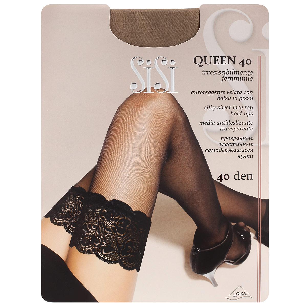 Queen 40_DainoТонкие чулки Sisi Queen 40 с фиксирующей резинкой на силиконовой основе и незаметным усиленным носком.